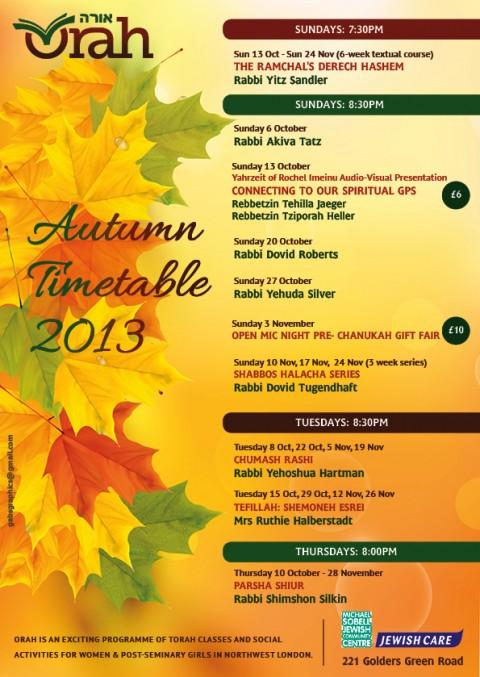 Autumn Timetable 2013